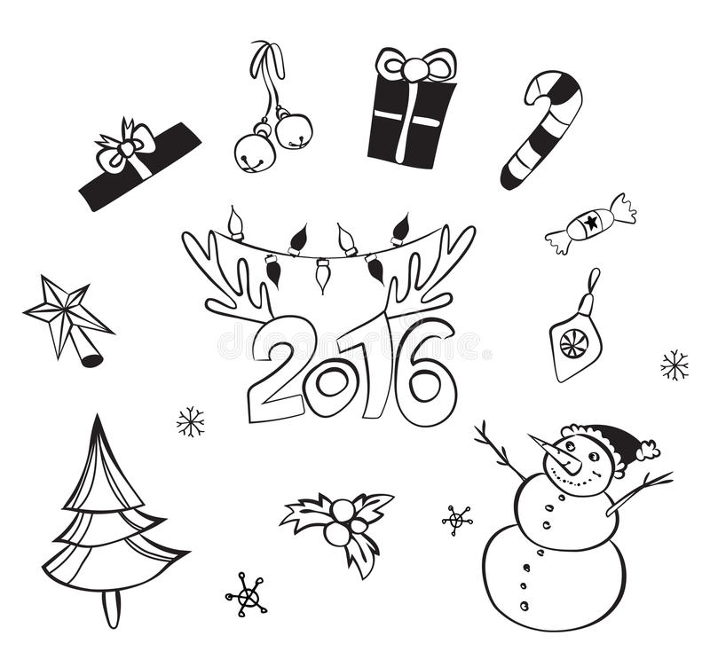 Christmas decorations set. Vector icons. Design elements collection. Cartoon objects. Snowmen,deer, pine tree,holly berry, gifts. Christmas decorations set vector illustration