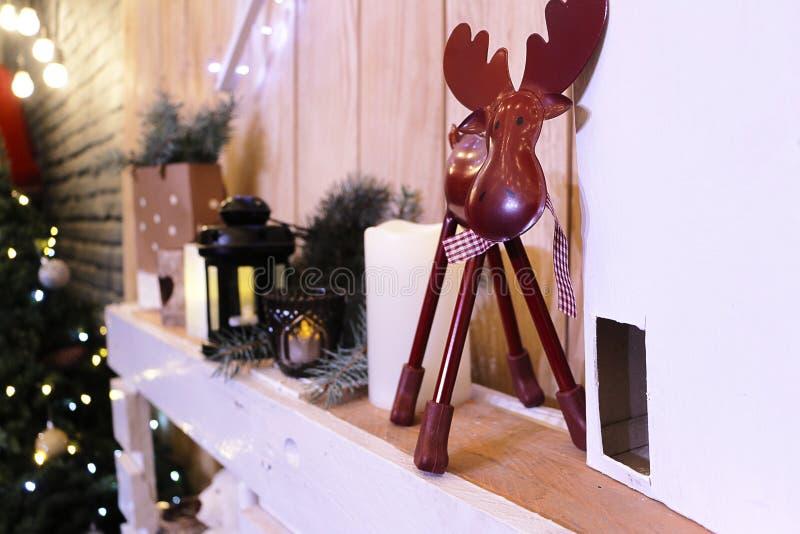 Christmas decorations on shelf stock photo