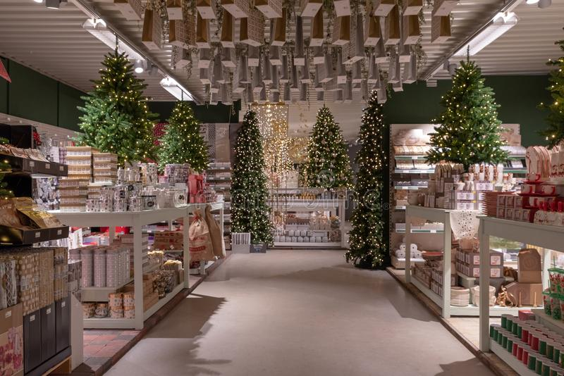 Christmas decorations in a shop stock images