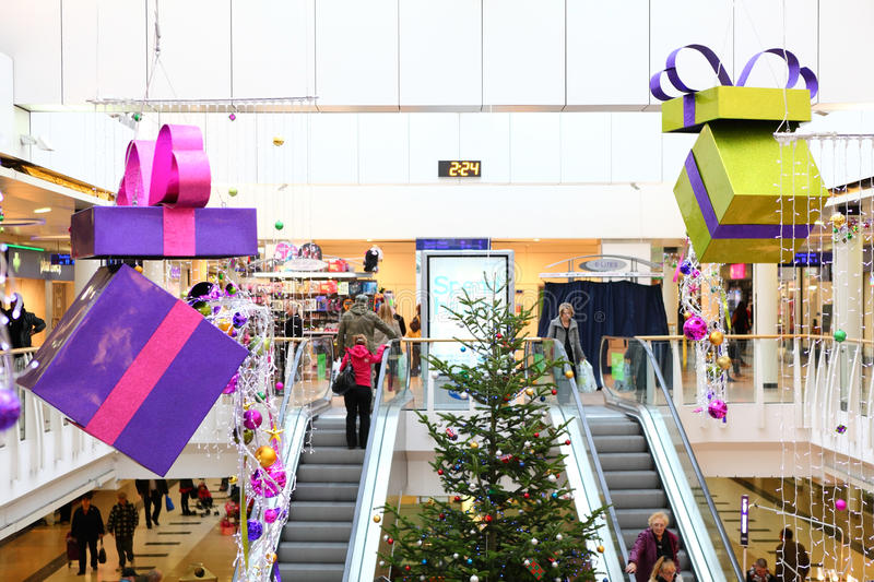 Christmas decorations in shopping mall stock images