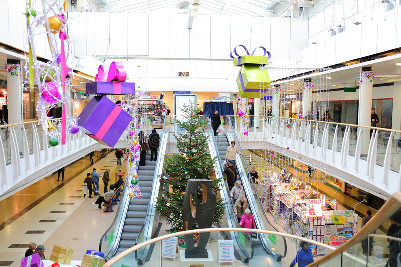 Christmas decorations in shopping mall royalty free stock photo