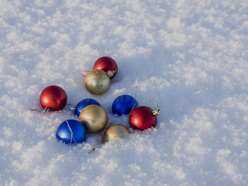Christmas decorations in the snow stock photos