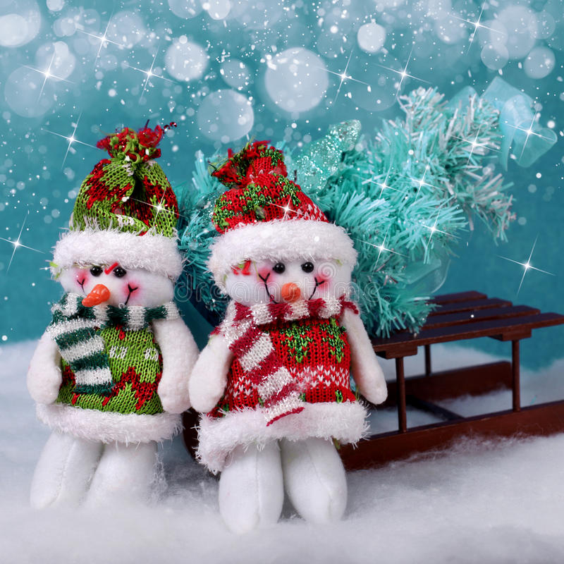 Christmas decorations snowmans. And snow. Winter holidays concept stock image