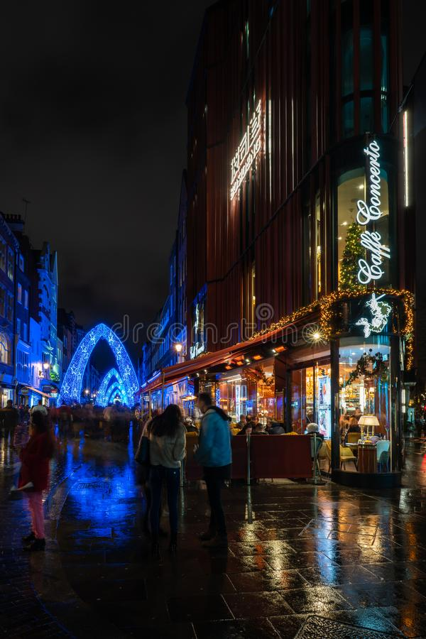 Christmas decorations on South Molton Street, Mayfair area in London. stock photography