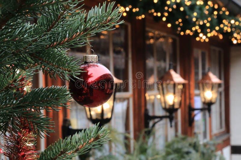 Christmas decorations on the street of Nuremberg (Bavaria) royalty free stock photo
