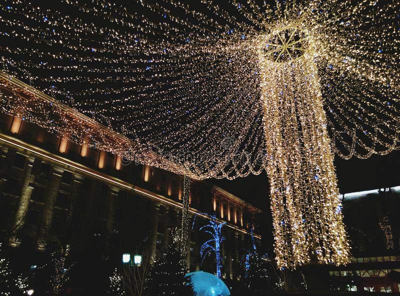 Bright Christmas decorations on the streets of Russia. Christmas decorations on the streets of Russia royalty free stock photo