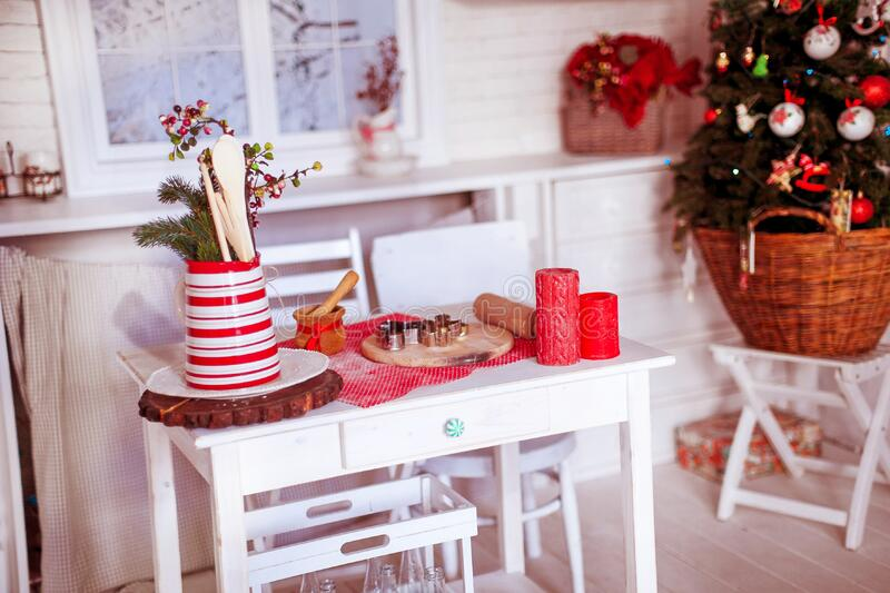 Christmas Decorations on Table royalty free stock photos