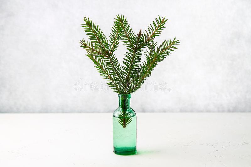 Christmas decorations on the table, spruce branch in the bottle. Christmas decorations on the table, spruce branch in the bottle stock photography