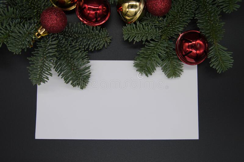 Christmas decorations at top allowing space for text. The space allows the user to add text to the photo eg text for a wine list, menu etc royalty free stock photography