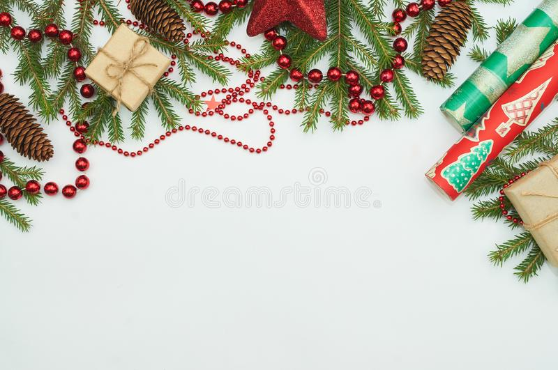 Christmas gifts and fur-tree branch stock image