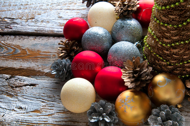 Christmas decorations. Top view. Copyspace royalty free stock photo