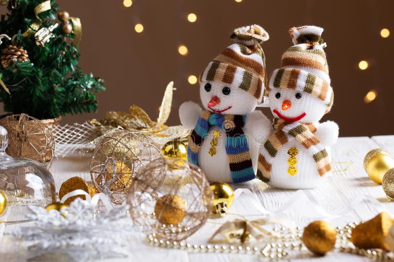 Christmas toys for decoration at living room of modern house. Christmas decorations with toy of snowmans. Christmas toys for decoration at living room of modern stock photo