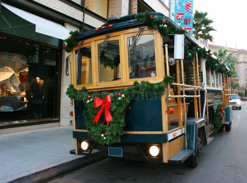 Christmas decorations on train stock photos