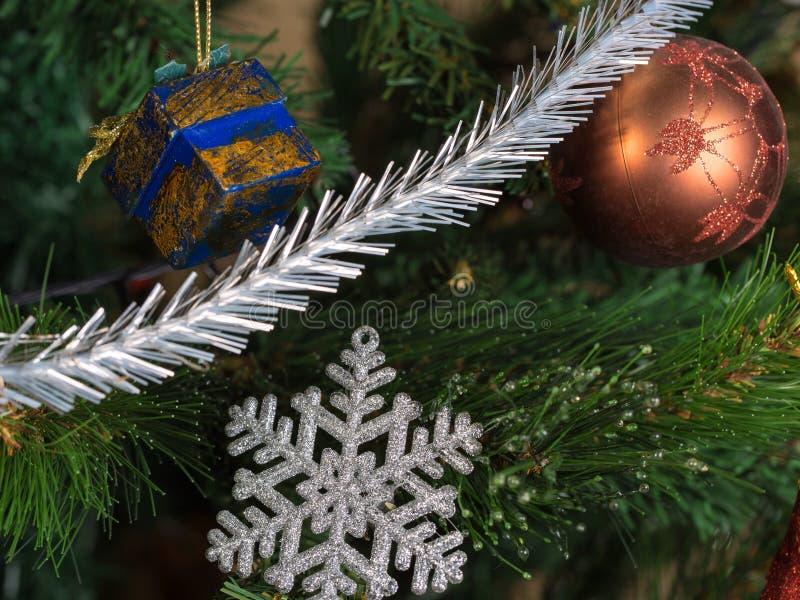 Christmas decorations. On the Christmas tree stock photo