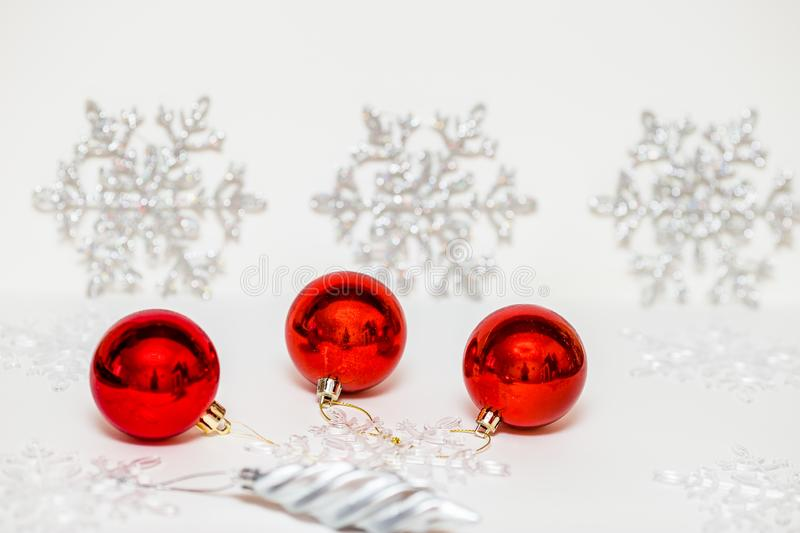 Christmas decorations for the Christmas tree on a colored background stock image
