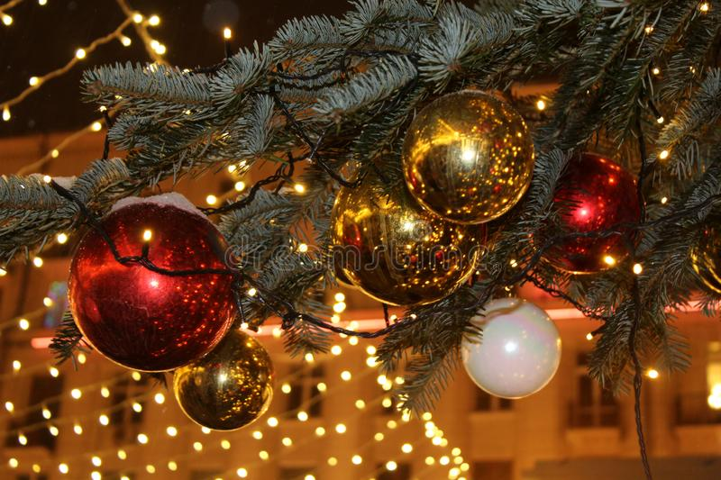 Christmas decorations on the Christmas tree in red and gold colors strewn with lights, close-up. royalty free stock images