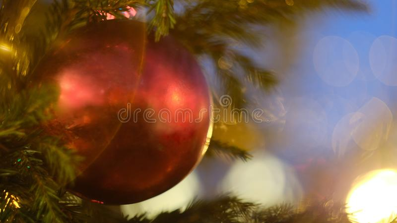 Christmas decorations on the Christmas tree stock image