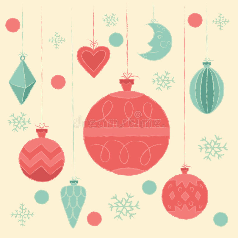 Christmas decorations. Vector illustration, poster, invitation, postcard or background in retro style. Postcard with Christmas decorations. Vector illustration stock illustration