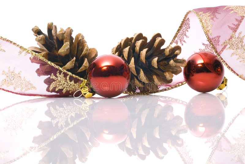 Christmas decorations on white. Background royalty free stock photo