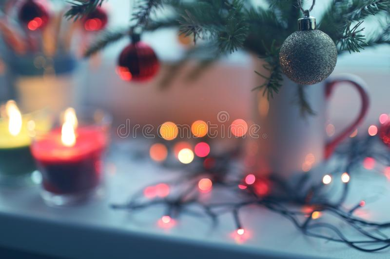 Christmas decorations on a window sill royalty free stock image