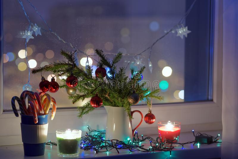 Christmas decorations on a window sill royalty free stock photography