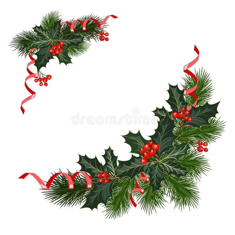 Free Christmas Decorations With Holly And Red Berries Stock Photos - 102344423