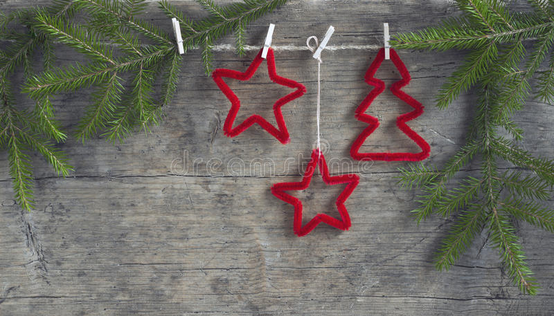 Christmas decorations. On the wooden background royalty free stock images