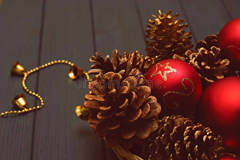 Christmas decorations on wooden background. Color toning stock photo