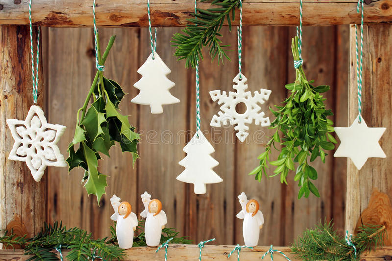 Christmas decorations on wooden fence stock photo image