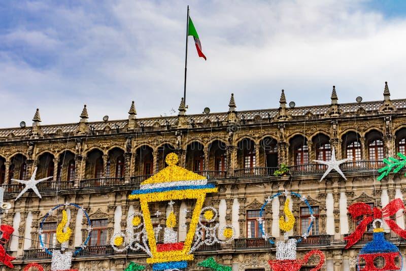 Christmas Decorations Zocalo Mexico City Mexico. Colorful Decorations Zocalo Mexico City Mexico stock photography