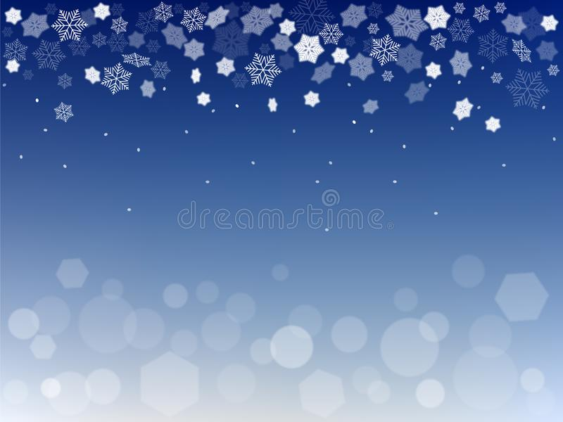 Christmas decorative backdrop with snowflakes and bokeh lights vector illustration