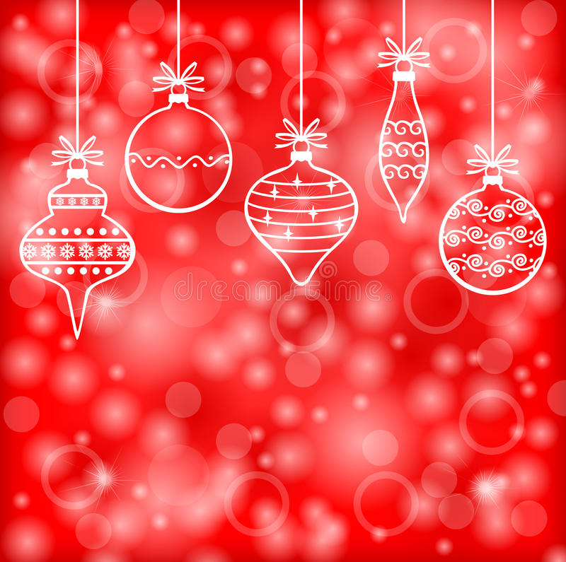 Christmas decorative baubles on red blur background royalty free illustration
