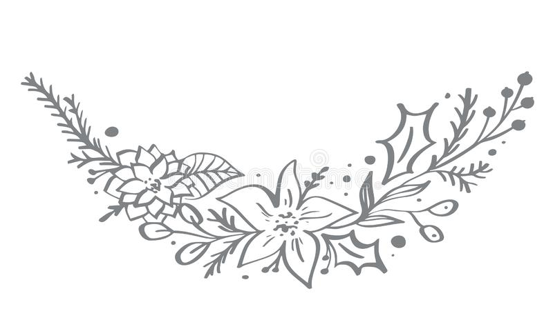 Christmas decorative corner elements design with floral leaves and branches in scandinavian style. Vector handdraw stock illustration