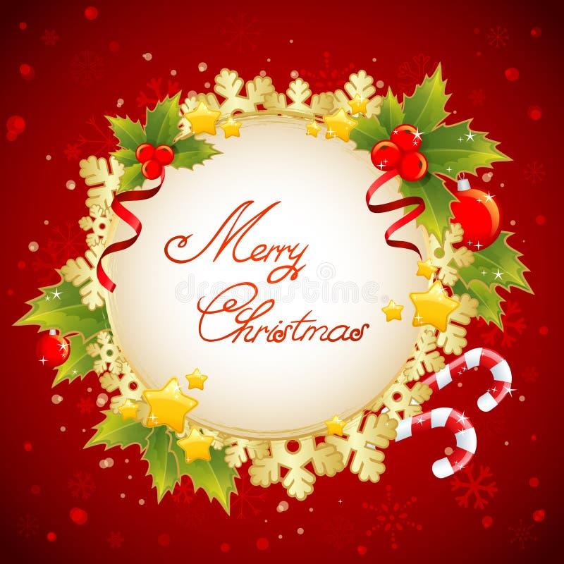 Christmas decorative golden congratulation card with symbols stock photo