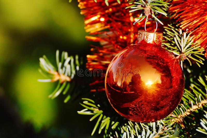 Christmas decorative red ball, background royalty free stock photos