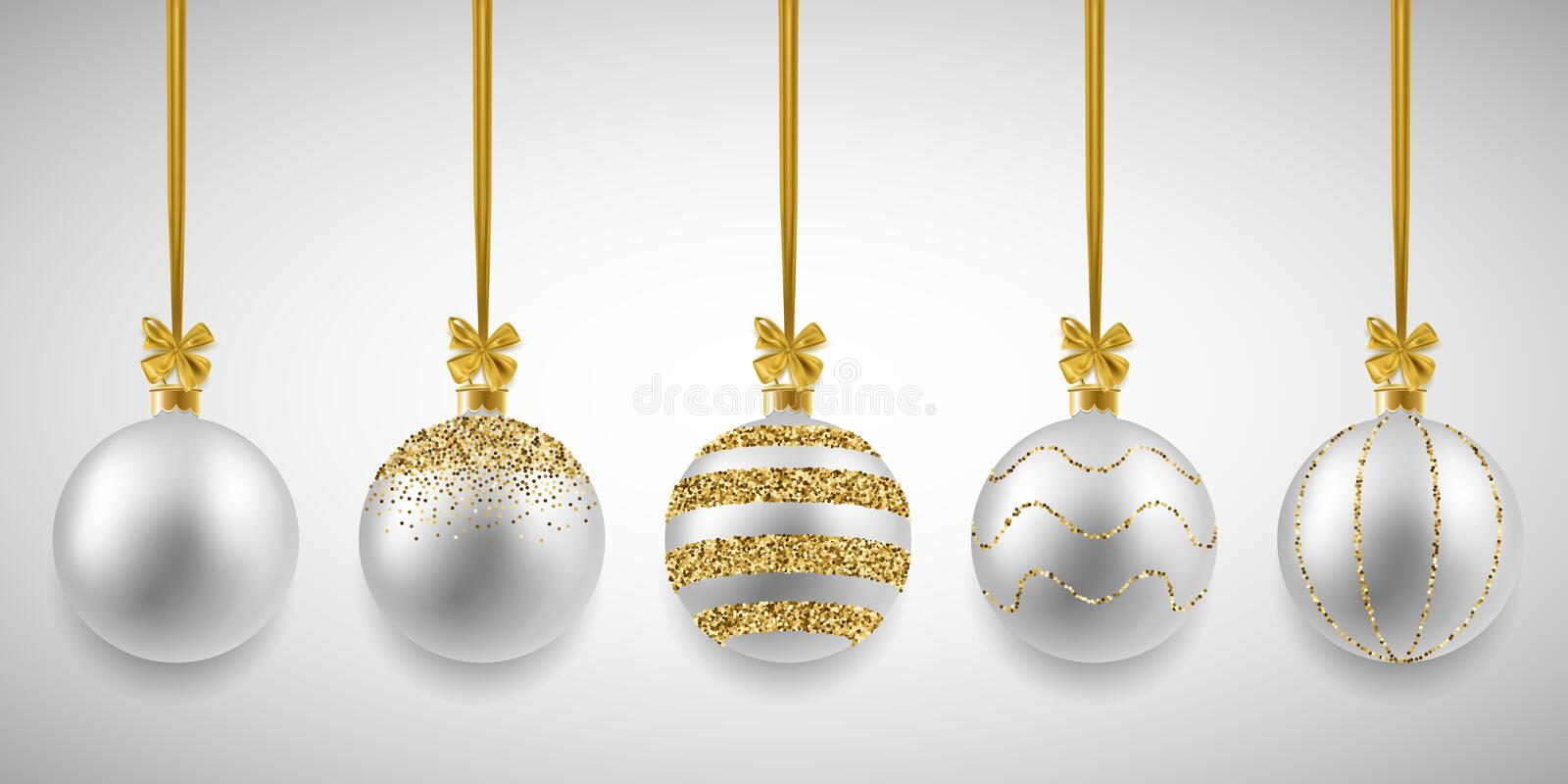 Christmas decorative silver balls set with glitter, vector illustration. Design vector illustration