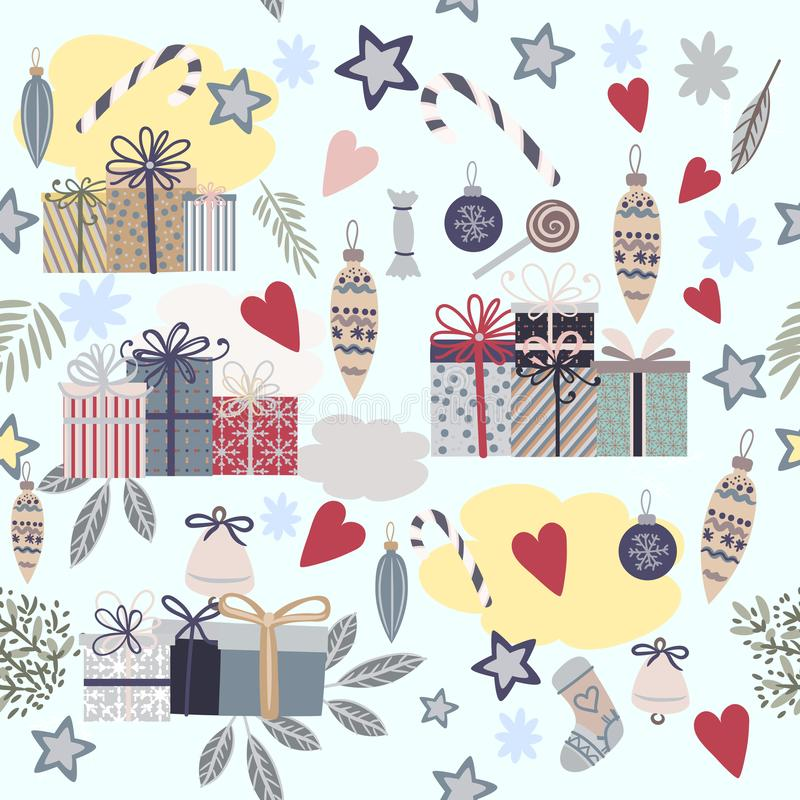 Christmas decorative vector pattern with gifts, baubles, fir tre vector illustration