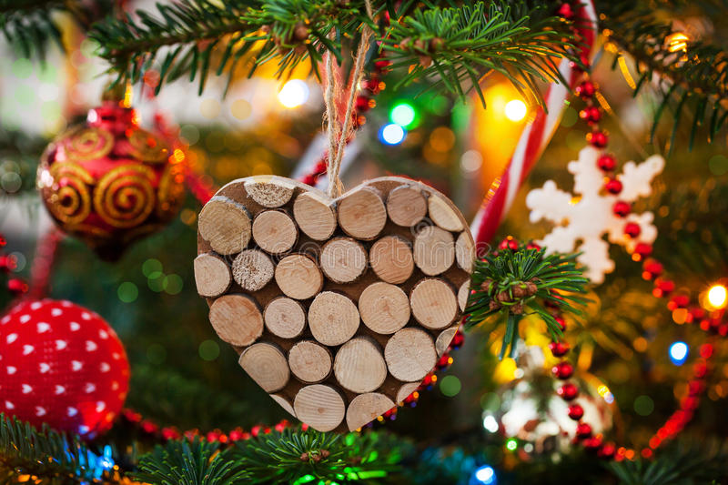 Christmas decorative wooden heart stock images