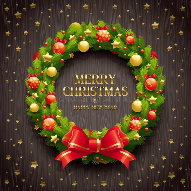 Christmas decorative wreath stock illustration
