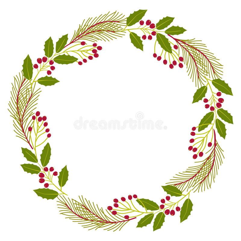 Christmas decorative wreath of natural holly, ivy, mistletoe on white background. Vector illustration royalty free illustration