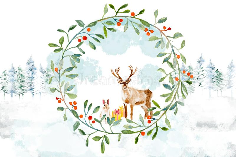 Christmas deeer and rabbit with a wreath in the forest royalty free stock photography