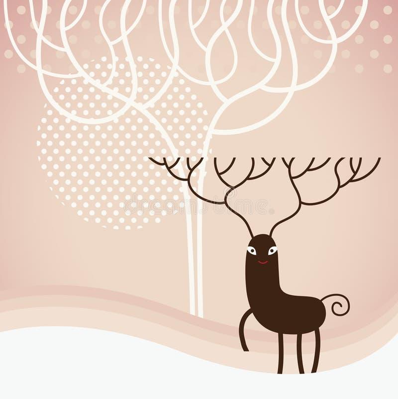 Christmas deer. Vector illustration for greeting card stock illustration