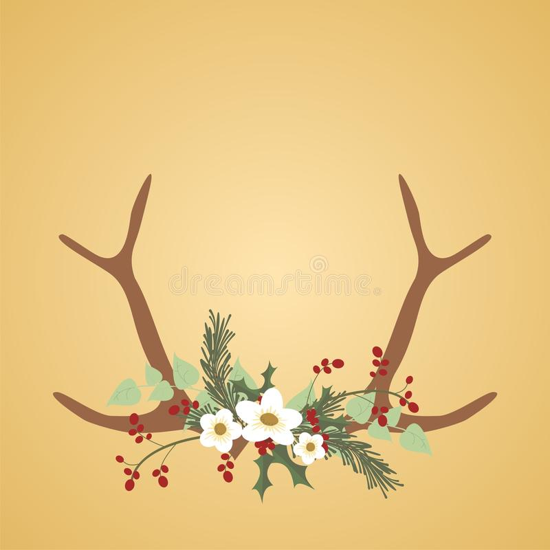 Christmas Deer Antlers and Flowers. Christmas Deer Antlers and Holiday Flowers on a brown background stock illustration
