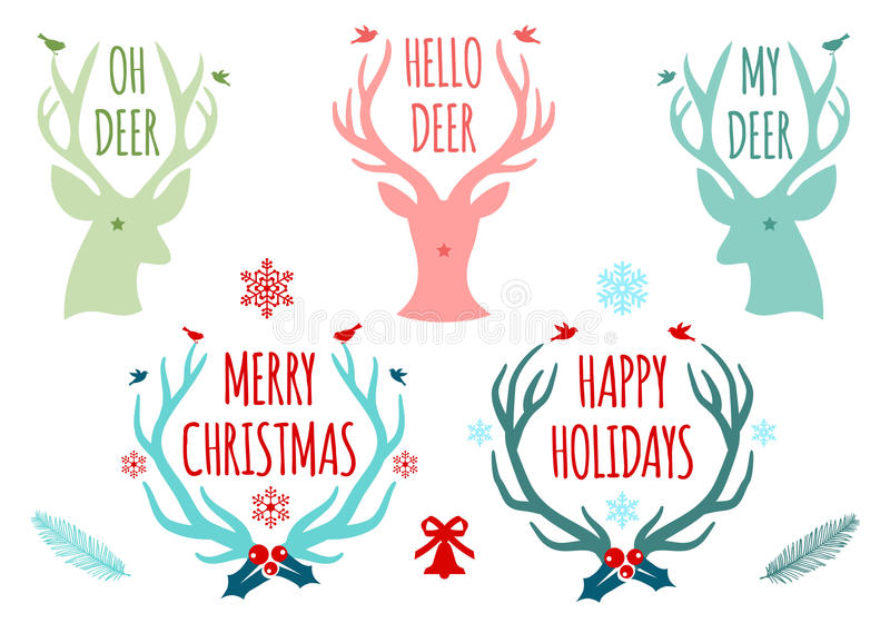 Christmas deer antlers, vector set. Merry christmas with deer heads and antlers, set of vector design elements royalty free illustration