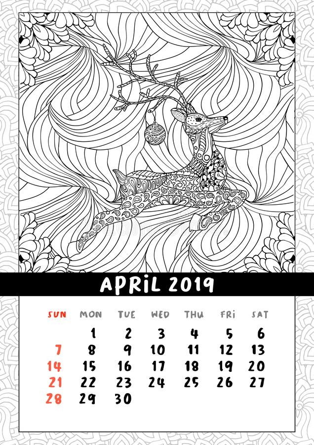 Christmas deer calendar, calendar april 2019 year royalty free illustration