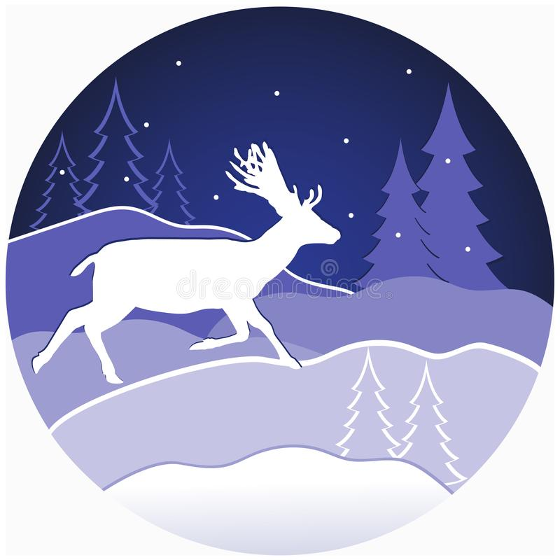 Christmas deer in forest. Vector illustration of a christmas deer in winter forest stock illustration