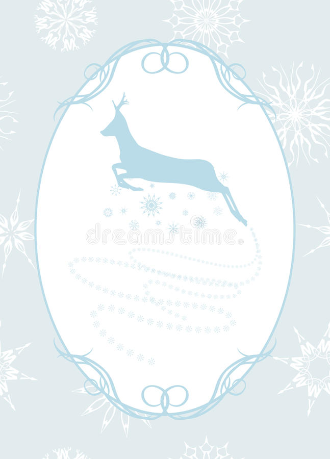 Download Christmas Deer In The Frame With Snowflakes Stock Vector - Image: 27587159