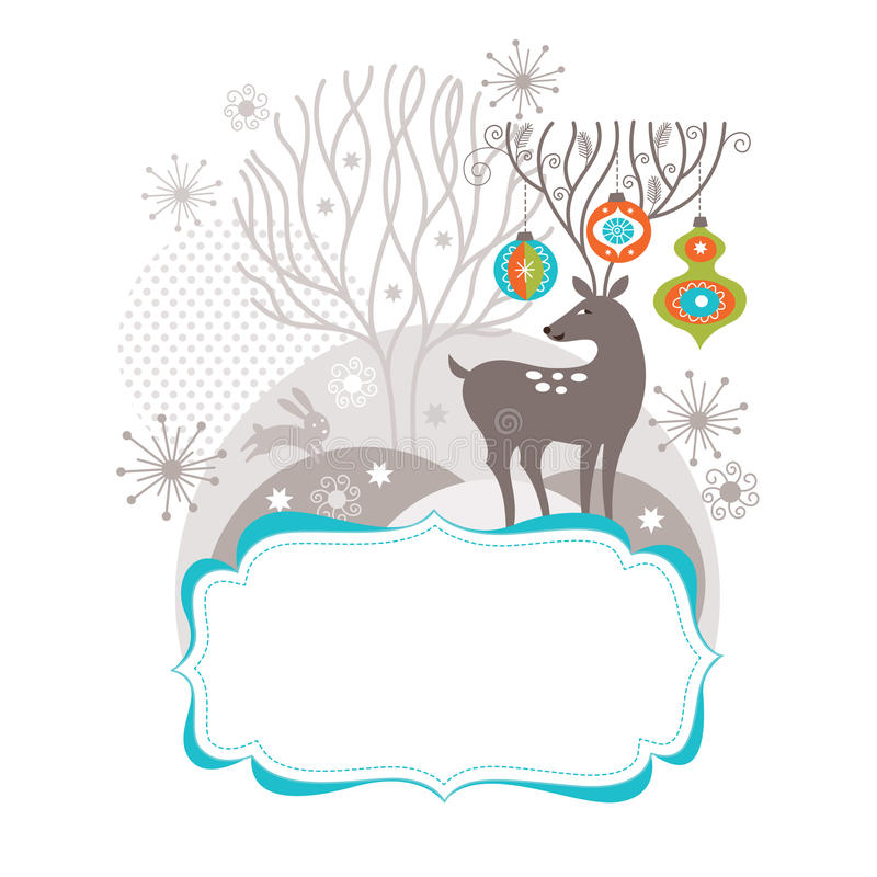 Christmas deer, Greeting card stock illustration