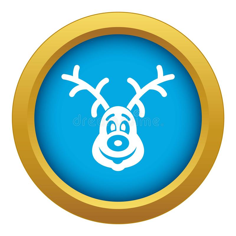 Christmas deer icon blue vector isolated. On white background for any design stock illustration