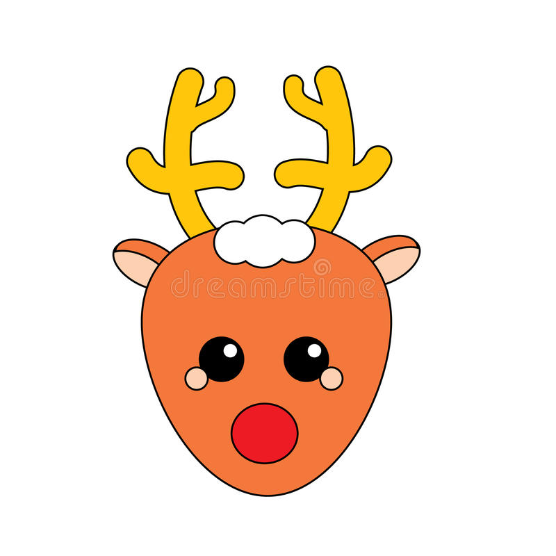 Christmas deer icon. Vector symbol, isolated design element royalty free illustration